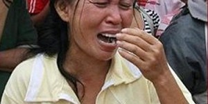 Philippine woman crying