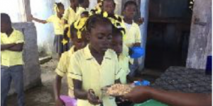 rice and beans, being distributed Haiti children