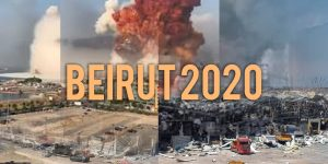 graphic of the damage from a catastrophe with the words Beirut 2020